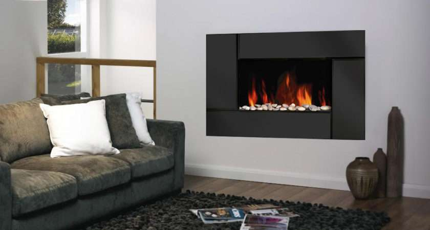 Black Glass Wall Mounted Electric Living Flame Fire Fireplace Ebay