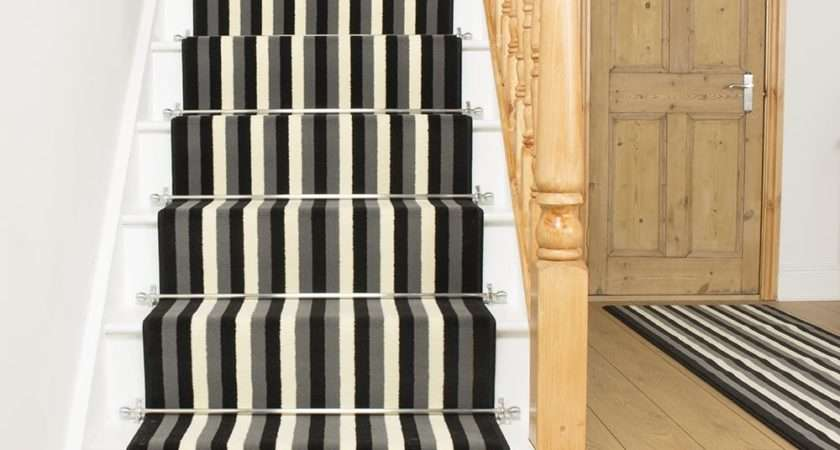 Black Grey Cream Stair Carpet Runner Broad