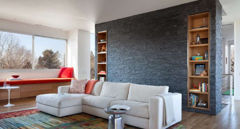 Black Natural Stone Wall Feature Living Room