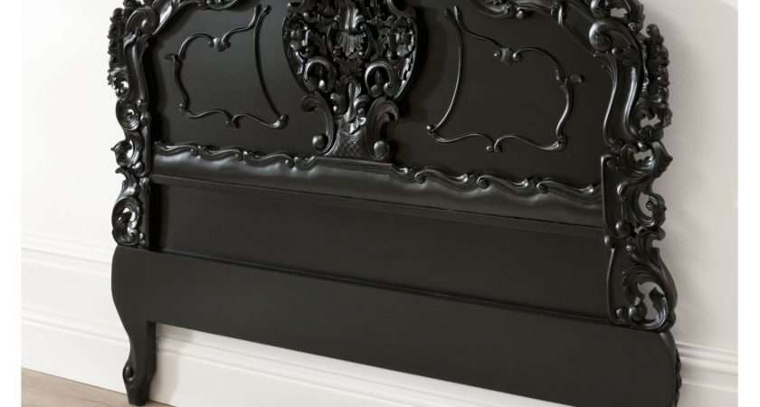 Black Rococo Antique French Headboard Stunning Piece