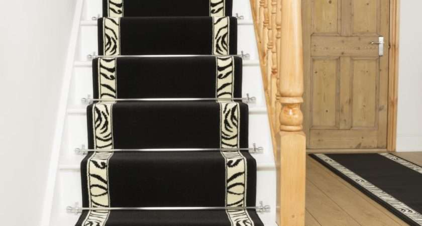 Black Stair Carpet Runner Zebra Border