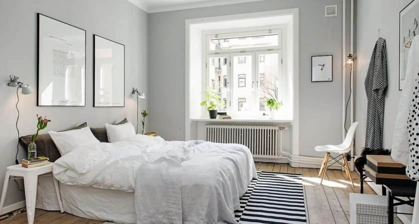 Black White Accents Look Sharp Against Silvery Grey Walls Via