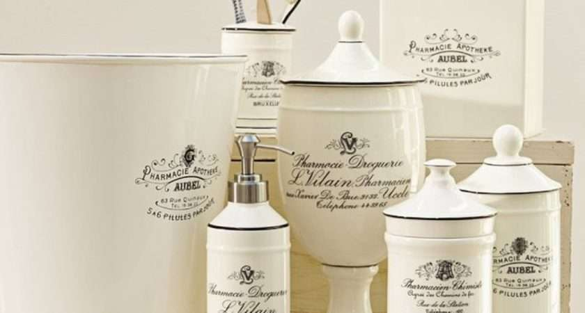 Black White Apothecary Bath Accessories Traditional