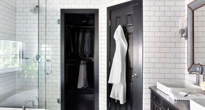 Black White Bathroom Subway Tile Walls Classic