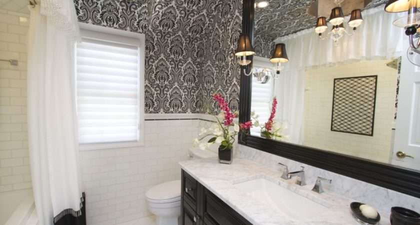 Black White Damask Bathroom Ceiling