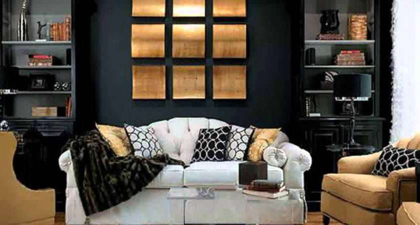 Black White Gold Living Room Decor Home Combo