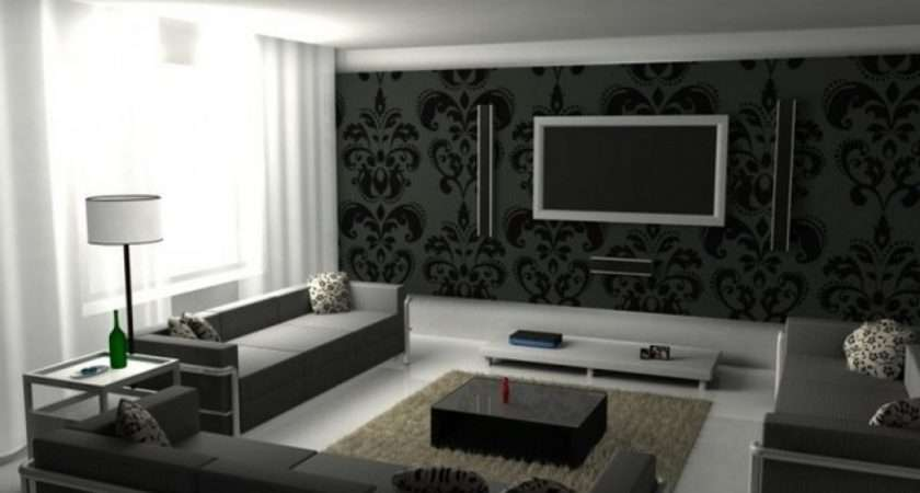 Black White Graphic Living Room Design Ideas