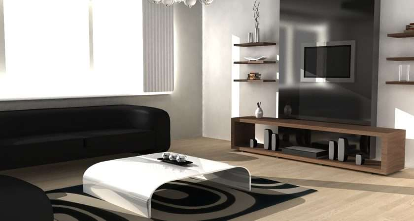 Black White Living Room Simple