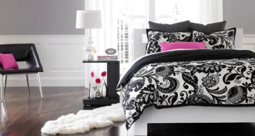 Black White Pink Accents Bedroom Silver Back