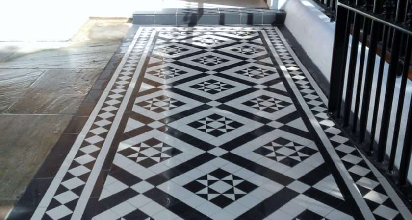 Black White Victorian Mosaic Tile Path Red Brick