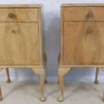 Bleached Walnut Shabby Chic Bedside Cabinets Queen Anne Style