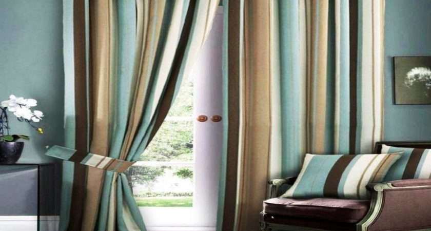 Blue Brown Living Room Curtains Nice