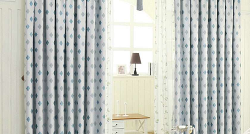 Blue Curtains Living Room Chenille Fabric Sale