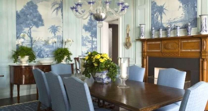 Blue Dining Room Murals Wall Decor Eclectic Home Ideas
