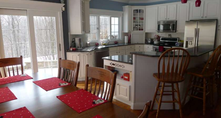 Blue Gray Kitchen Red Accents Home Pinterest