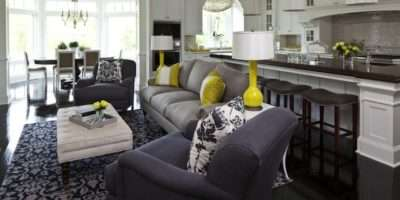 Blue Gray Living Room Contemporary Martha Hara