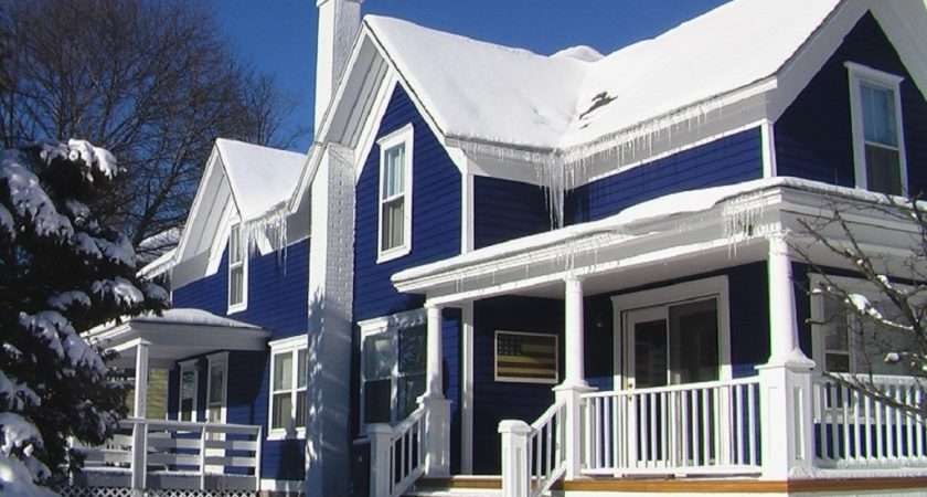 Blue House Exterior Color Schemes White Deck Railing