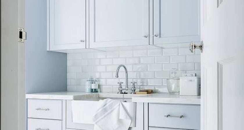 Blue Laundry Room Cabinets White Subway Tiles