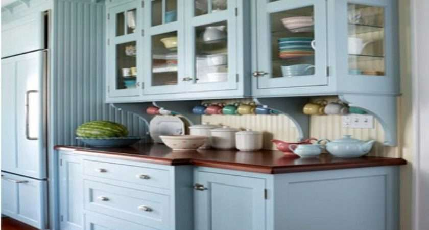 Blue Painted Kitchen Cabinet