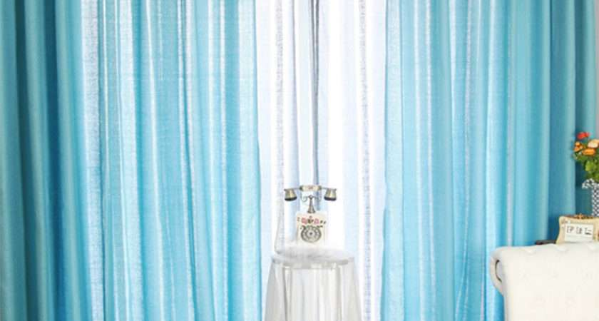Blue Privacy Bedroom Curtain Ideas Polyester Fabric