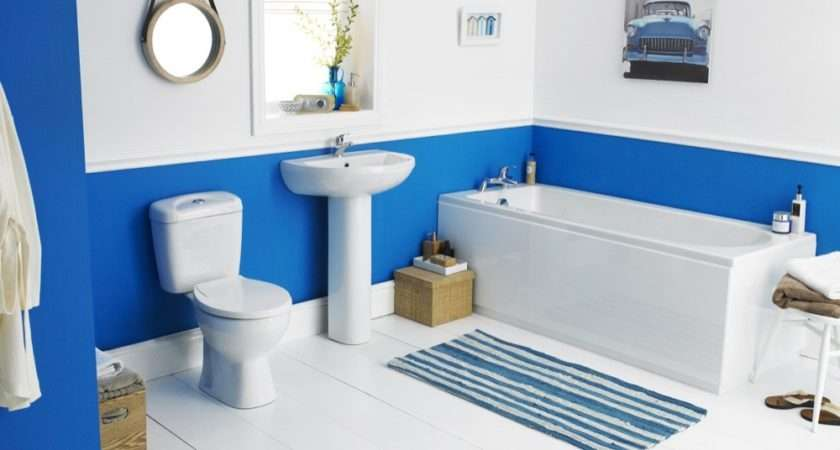 Blue Suite Complete Bathroom Including Toilet Basin Bath