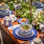 Blue Table Setting Inspiration Dinner Party Six