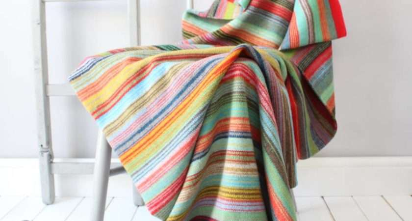 Bombay Striped Knitted Lambswool Throw Gabrielle Vary
