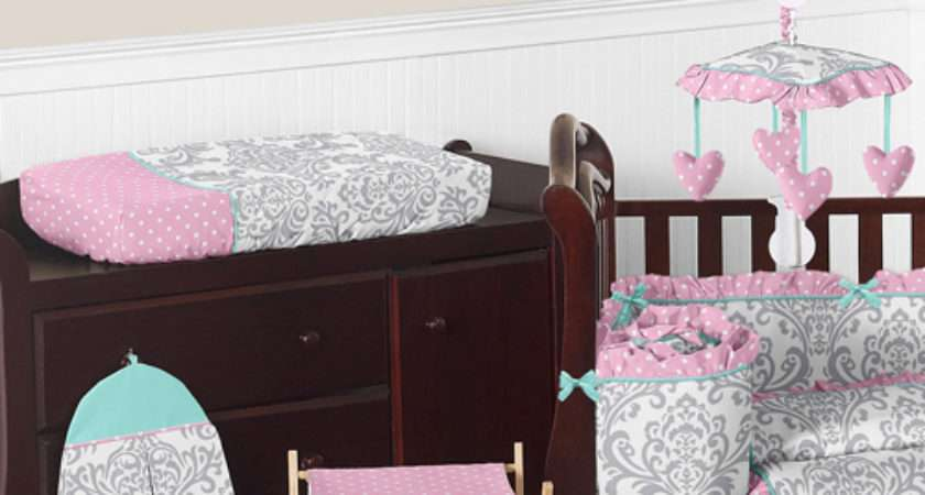Boutique Blue Pink Grey White Girly Cute Crib Baby Bedding