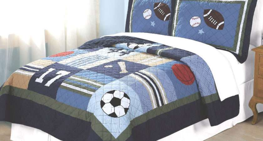 Boys All State Twin Single Quilt Bed Set Teen Sports