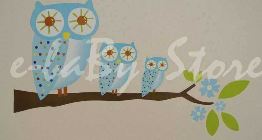Boys Childrens Baby Bedroom Blue Owl Wall Furniture Stickers Decals