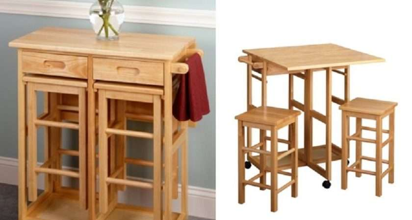 Breakfast Bar Table Wood Stool Dining Kitchen Rolling Cart Foldable