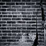 Brick Wall Black White Grasscloth