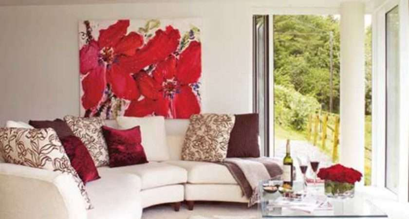 Bright Accent Wall Design Red Color Modern Living Room Decorating