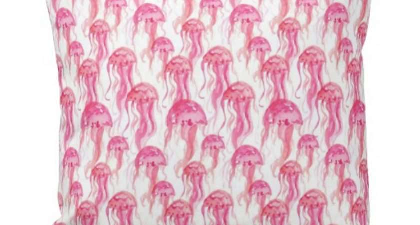 Bright Pink Jellyfish Watercolor Sea Creatures Throw
