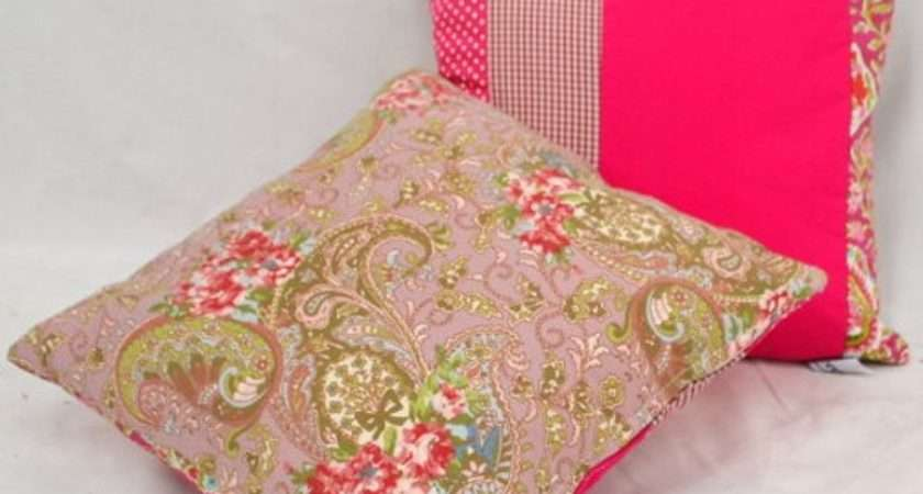 Bright Pink Patchwork Cushions Pillows Recoverteam