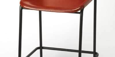 Brown Leather Metal Aviator Style Bar Stool