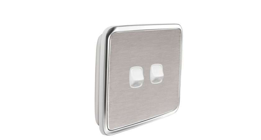Brushed Stainless Steel Gooden Light Switch Cover Suit