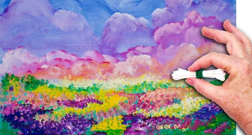 Brushes Colorful Sky Field Flowers Painted