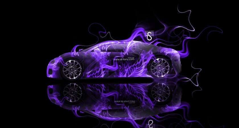 Bugatti Veyron Violet Fire Abstract Car Design