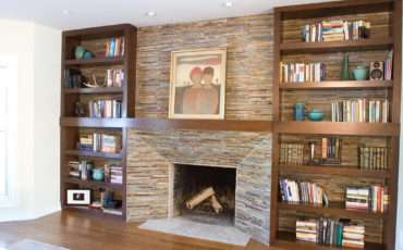 Built Bookcase Around Fireplace Ins
