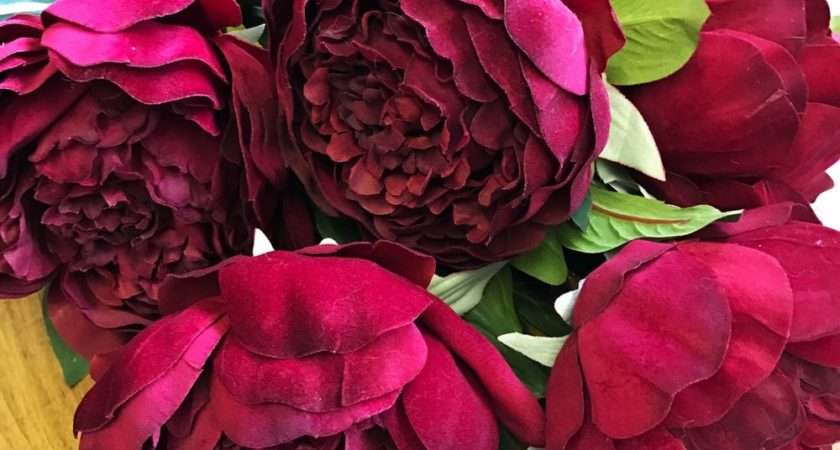 Bunch Large Realistic Red Peonies Artificial Luxury