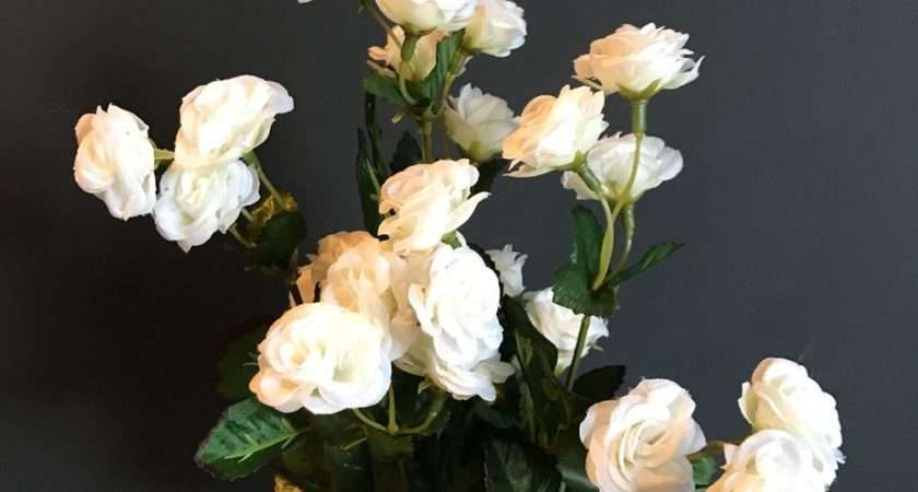 Bunch White Artificial Mini Rose Buds Silk Flowers