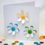 Button Flowers Card Handmade Greeting Paper Nikelcards