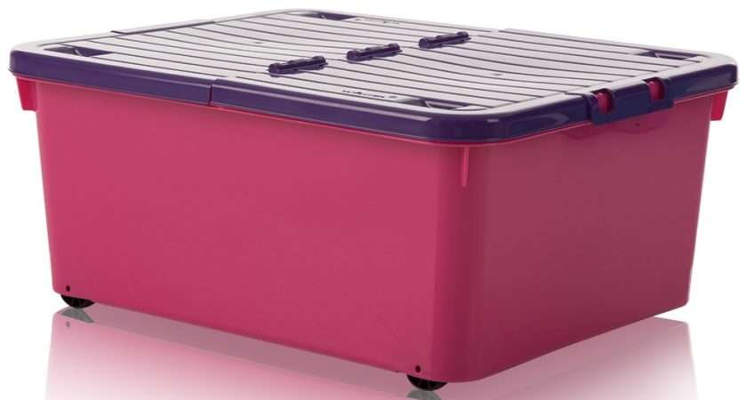 Buy Under Bed Pink Plastic Storage Box Wheels