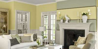 Calm Living Room Nuance Yellow Gray Wall Paint Colors
