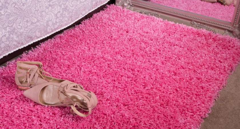 Candy Pink Girls Shaggy Rug Living Room Bedroom House