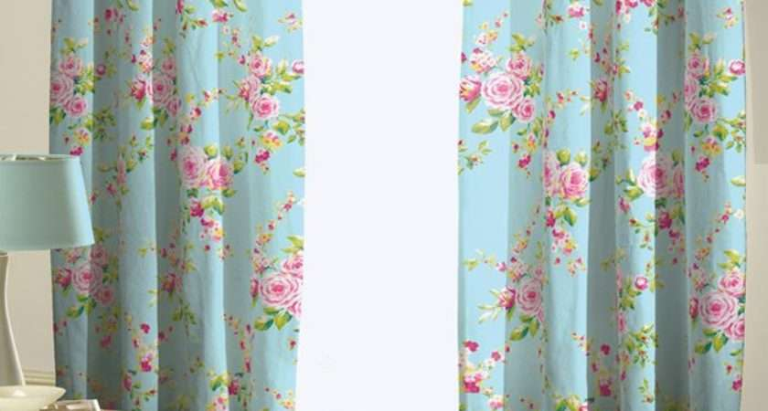 Canterbury Curtains Red Blue Floral Rose Design