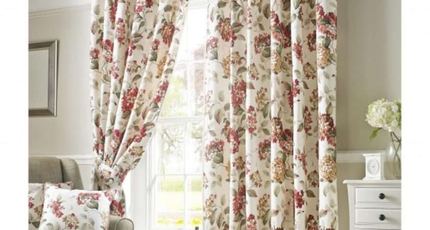 Carnaby Chintz Red Lined Ready Made Curtains Ashley Wilde