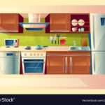 Cartoon Set Kitchen Counter Vector
