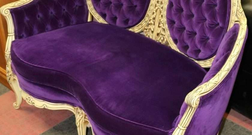 Carved Style Purple Fabric Love Seat